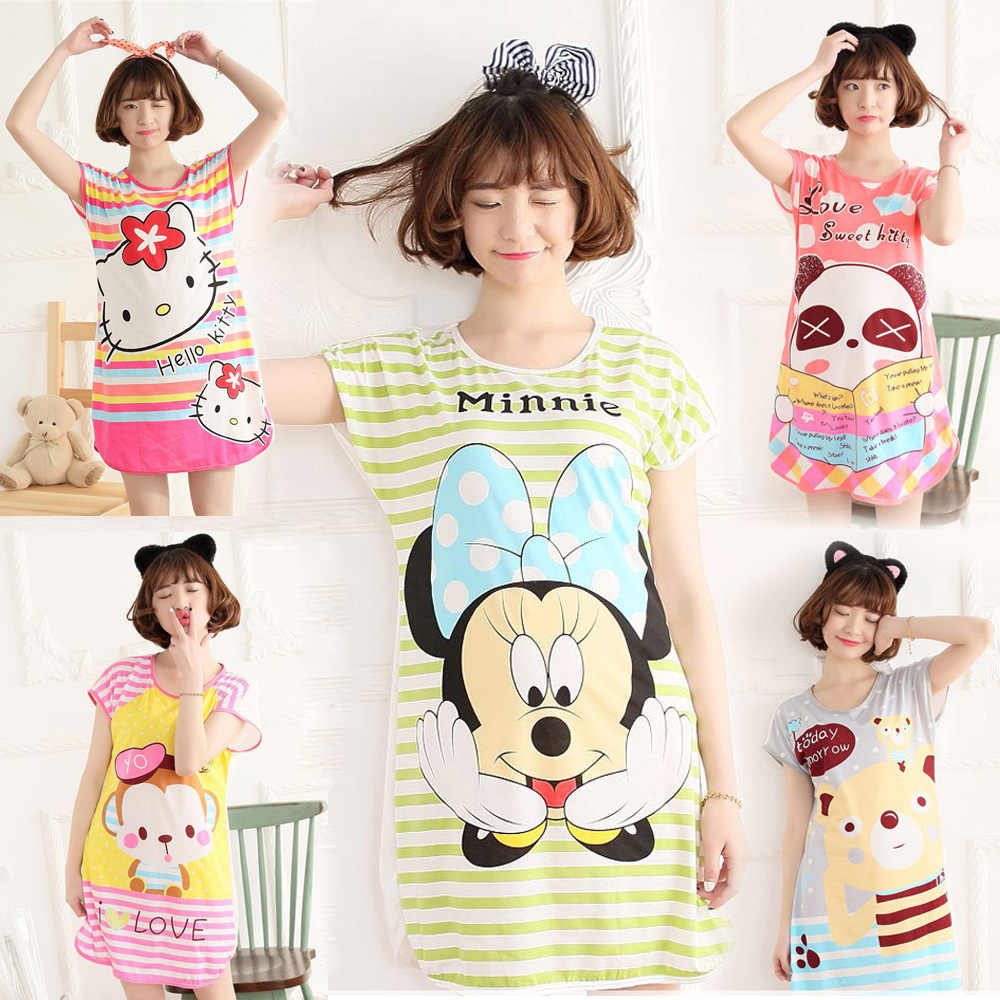 BabYoung Pyjamas Girls Loose Cartoon Panda Mouse Sleep Dress Sleepwear  Nightgown Home Wear Female Women pijamas 42dbe94b7