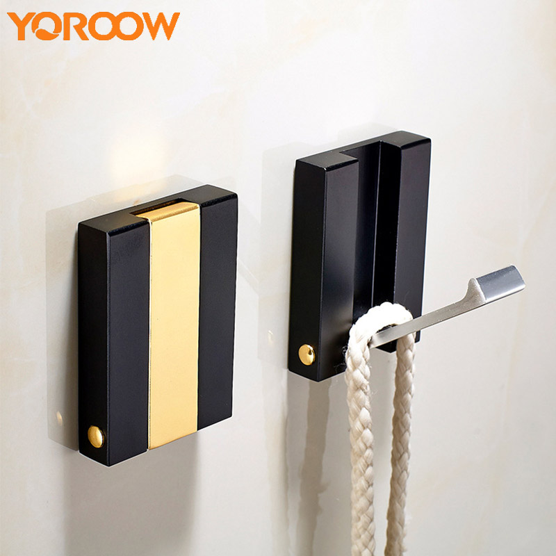 цена на Bathroom Wall Gold Coat Clothes Hooks Black Towel Single Nail Free Robe Hook Hanger Brass Suction White Hat Adhesive FJ0018