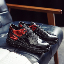 AD AcolorDay Lace Up Hip Hop Shoes Patent Leather Platform  High Top Mens Shoes Casual Black Silver Male Shoes Spring Size 39-44