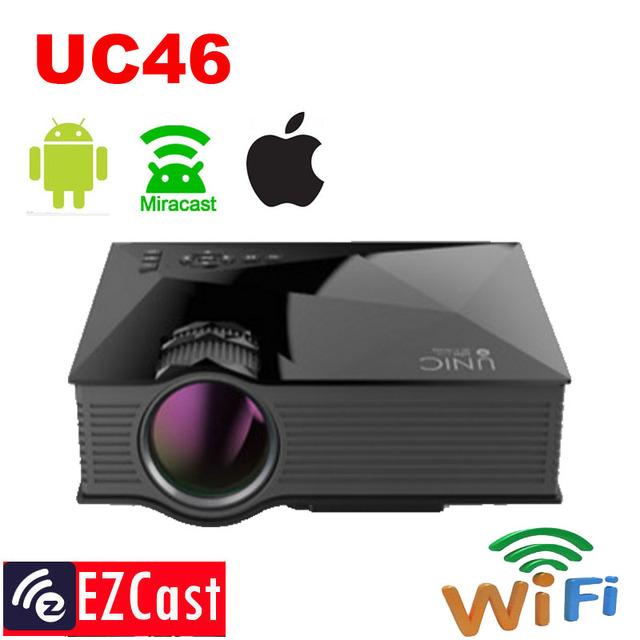 Espelho miracast wi-fi sem fio projeção unic uc40 uc46 1200 lumen hd digital multimedia led mini projetor projetor projetor