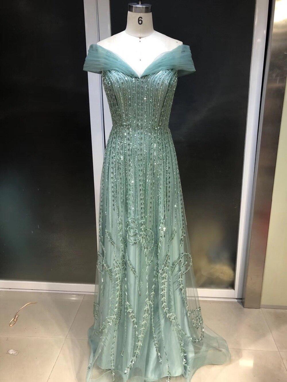 Robe de soriee New   Evening     Dresses   2019 V-Neck Cap Sleeve Floor Length Beading Tulle Mermaid Prom   Dresses
