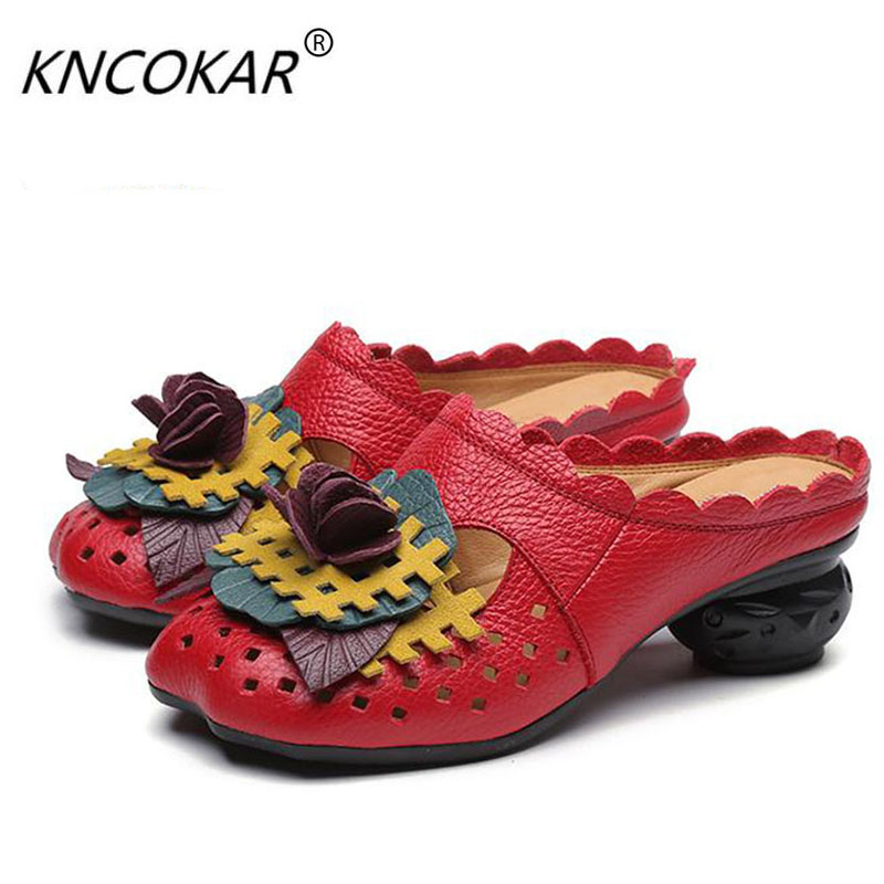 New female shoes leather sandals all cowhide hole hole national wind baotou slippers with flowers in comfort