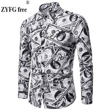 New spring and summer mens long-sleeved shirts creative design simple casual style blouse shirt youth fashion male 2019