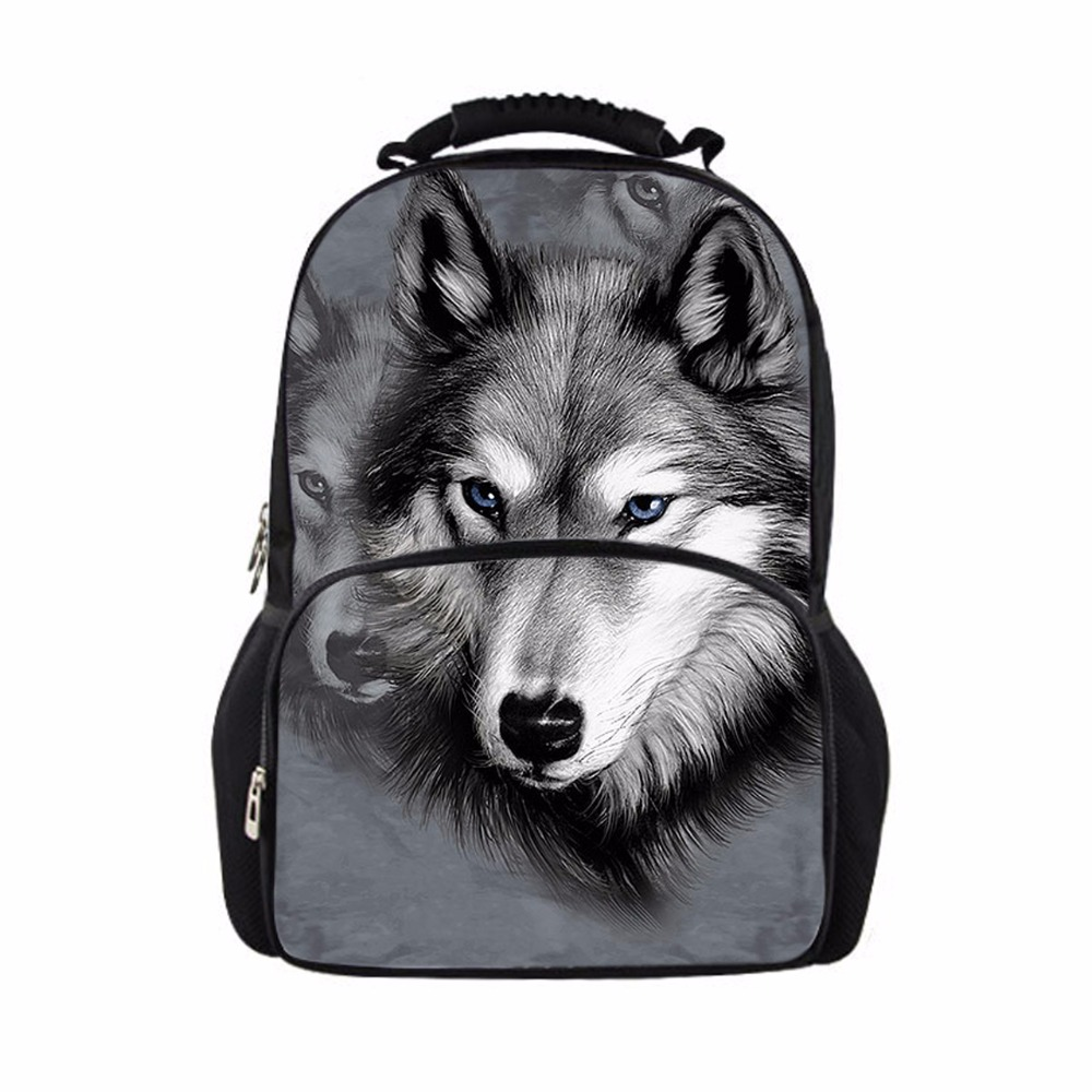 FORUDESIGNS Cool Children 3D Animal Felt Backpack Men's Backpack Wolf Printing Bag School Girls College Student Bagpack Retail new 3d animal dog cat printing children school backpack 17inch student school bag casual men s backpack laptop bagpack mochila