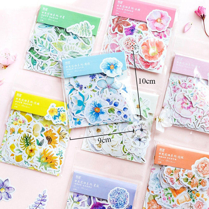 45pcs/bag Kawaii Bullet Journal Cute Diary Flower Stickers Scrapbooking Japanese Stationery Decoration Chancery Material Escolar sweet seduction