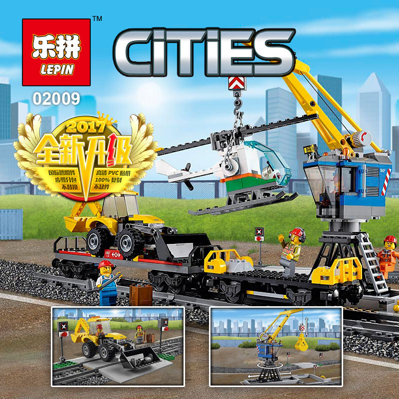 New Lepin 02009 1033pcs City Engineering Remote Control RC Train Lepin Building Block Compatible 60098 Brick Toy for kids gift lepin 02009 city engineering remote control rc train model
