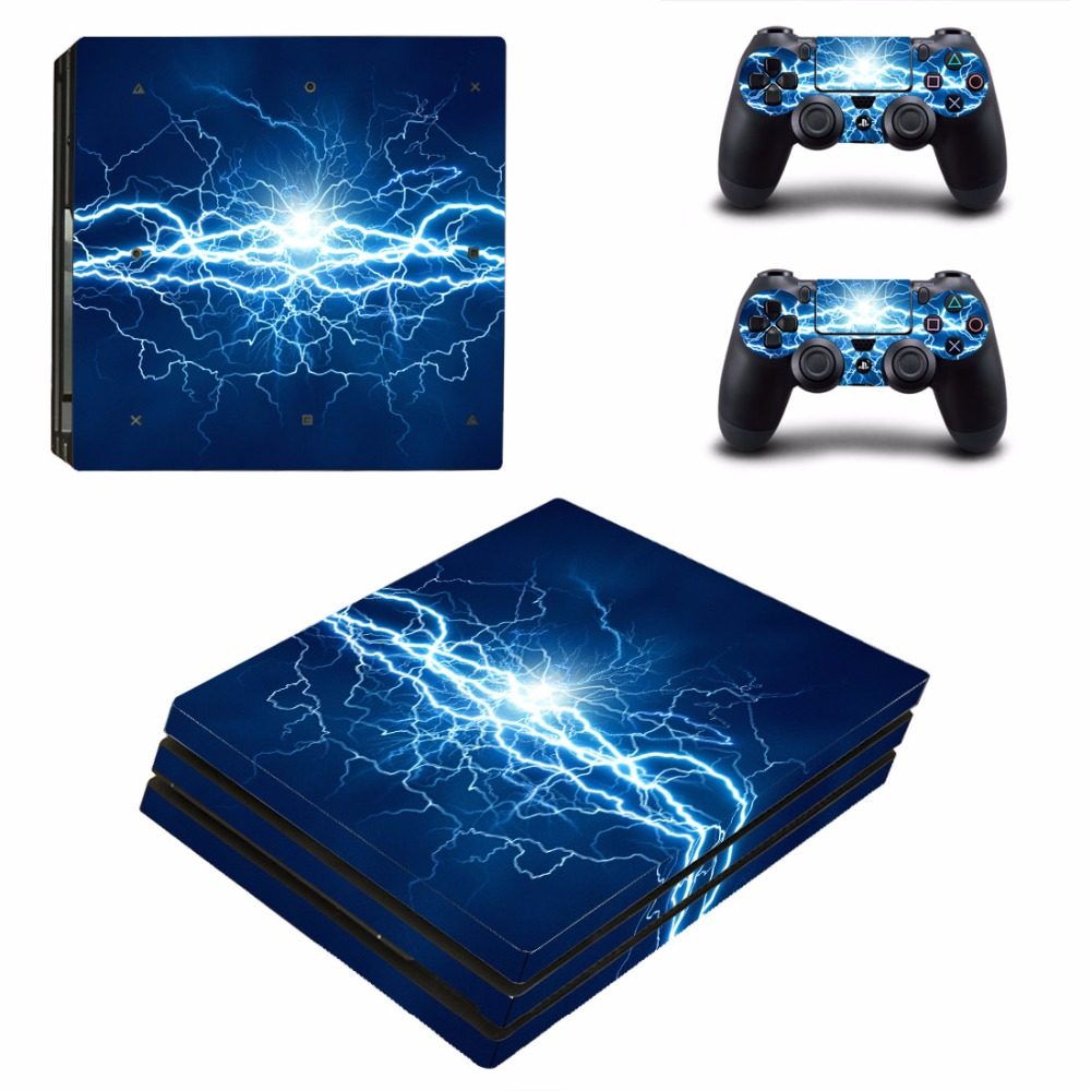 Fantasy Lightning PS4 Pro Skin Sticker Decal For Sony PlayStation 4 Console and 2 Controllers PS4 Pro Skins Stickers Vinyl