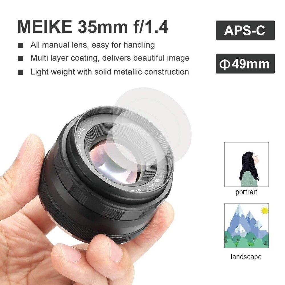 Meike 35mm f1.4 lentille de Mise Au Point Manuelle pour Sony e-mount A7R A7S A6500 A7/Fuji X-T2 X-T3/Canon EOS-M M6/M4/3 Appareil Photo Hybride + APS-C - 4