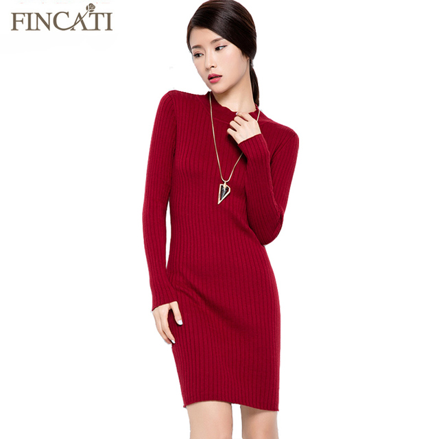 2017 Women's Autumn Long Ribbed Knitting Design O-Neck Slim Fitted Knitted Dress Party Jumper Sweater Dresses