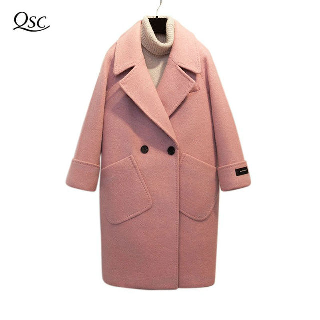 100% Real Photos Wool Women Coat 2018 Casual Pink Coat Loose Wide-Waisted Spring Winter Coat Long Cashmere Overcoat Solid Woolen