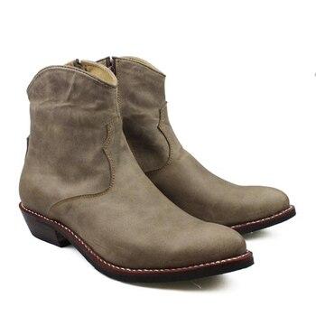 f3b432654 100% брендовые новые ботинки ручной работы, мужские ботинки с острым носком  на каблуке 3,5 см из натуральной воловьей кожи, мужские ботильоны, к.