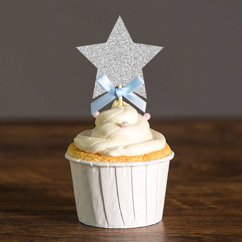 Boy Birthday Baby Shower Twinkle Little Star Cupcake Toppers First Birthday Silver and Blue Birthday Decor