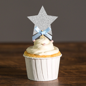 Twinkle Little Star Cupcake Toppers Silver and Blue/Gold and Pink Baby Shower/Boy or Girl First Birthday Decor Party Decorations