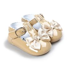 HOT SALE Newborn Baby Girl Bow Anti-slip Crib Shoes Soft Sole Sneakers Prewalker 0-6M Khaki S