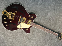 Jazz Electric Guitar with Bigsby, Semi Hollow Body Archtop Guitar Brown color, High quality guitarra,Real photo showing