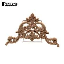 Runbazef резьба по дереву цветок патч Европейский Стиль деревянный Мебель дверь таблички Фоновые украшения цветочной аппликацией кровать