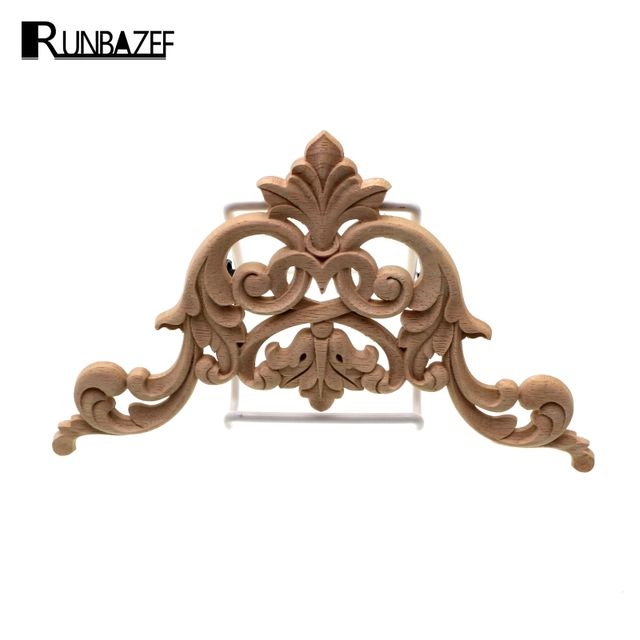RUNBAZEF The Woodcarving Flower Patch Are European Style Wooden Furniture  Door Decals Background Decoration Floral Applique