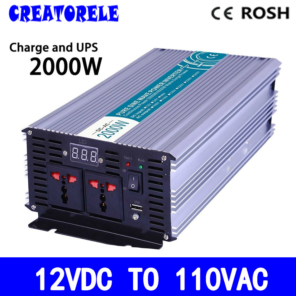P2000-121-C off grid pure sine wave 2000w ups inverter 12vdc to 110vac solar inverter voltage converter with charger and UPS