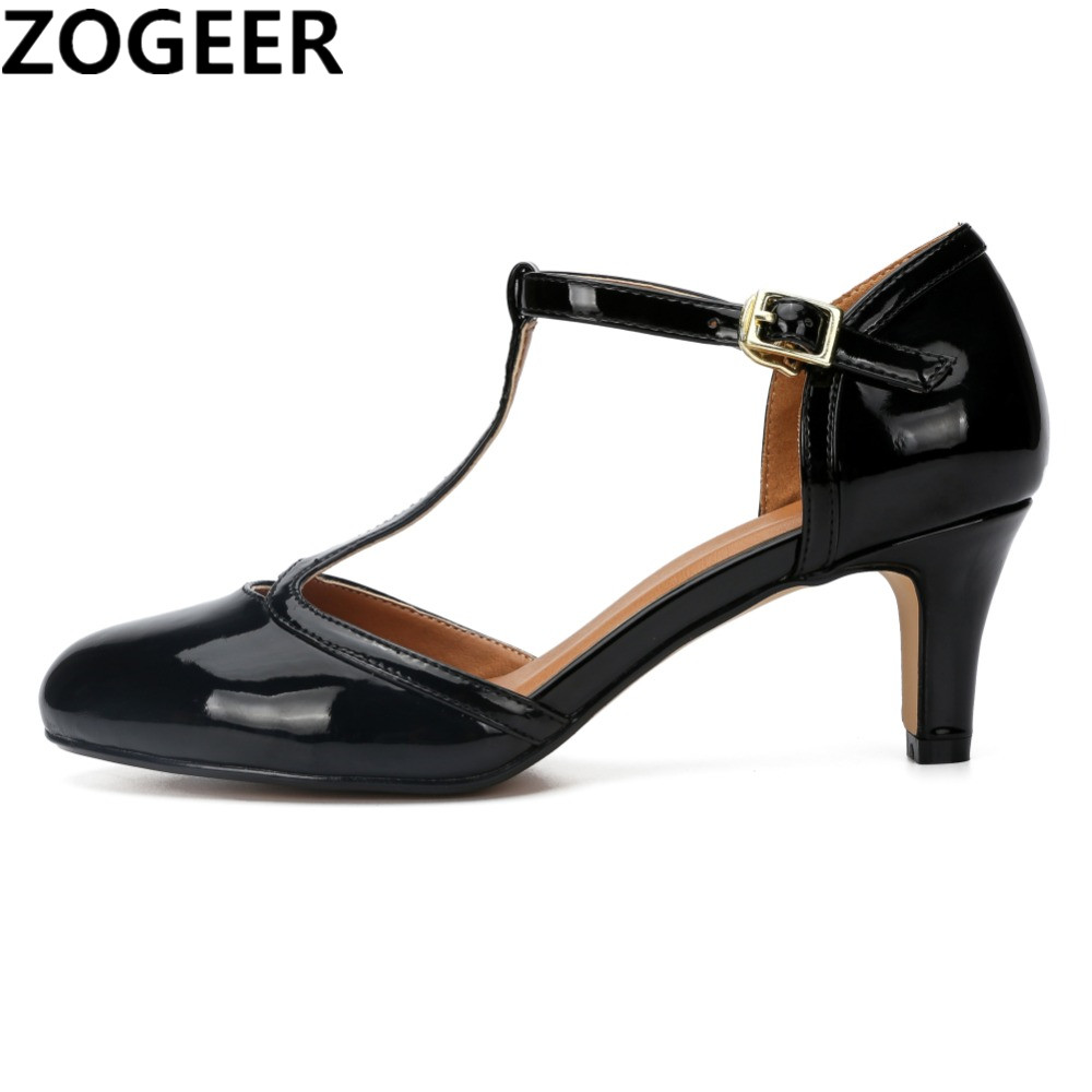 Plus size 48 High Quality 2019 Women Shoes Sexy Thin High Heels T Strap Office Wedding