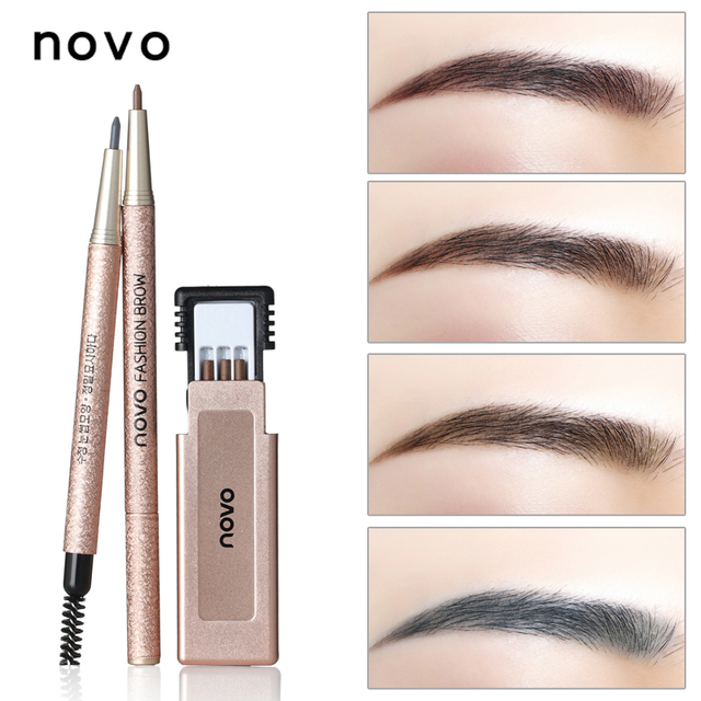 1PC Professional Eye Brow Makeup with Refill Easy to Wear Pigment Brown Gray Waterproof Eyebrow Pencils Kit Make Up Cosmetics 4