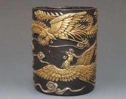Chiny królewski brąz 24 K złoto srebro dwa Phoenix ołówek wazy piórnik pojemnik na pędzle Posągi i rzeźby Dom i ogród -