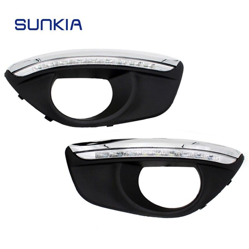 SUNKIA Светодиодный дневной светильник для Hyundai Santa Fe 2010-2012 с туманом отверстие лампы недоступны светильник DRL Бесплатная доставка