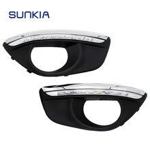 Sunkia led luz de circulação diurna para hyundai santa fe 2010-2012 com buraco da lâmpada de nevoeiro escurecido luz drl frete grátis