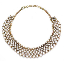 Women Vintage Necklace Female Retro Full Rhinestone Jewelry Statement Necklace Choker Sweater Chain Maxi Necklace Collier Femme