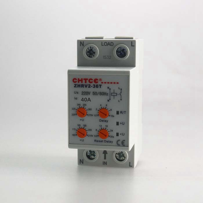 40A 220V Din Rail Household Self-resetting Over And Under Voltage Protection Relay ZPV36-T With Adjustable Button