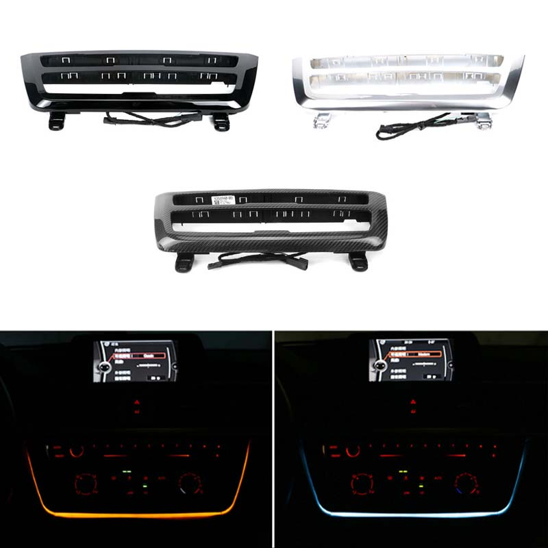radio trim led dashboard center console AC panel light with blue and orange color Atmosphere light