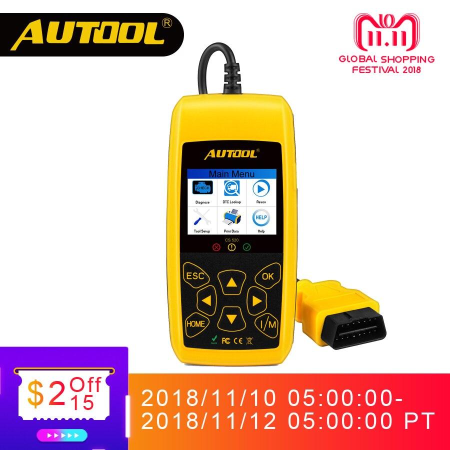 AUTOOL CS520 OBD2 escáner automóvil OBD 2 lector de código CAN BUS Auto escáner Digital herramienta de diagnóstico LED Dispaly Key uso DIY