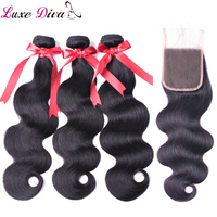 LUXE DIVA Body Wave Bundles With Closure Brazilian Hair Weave Bundles With Closure Human Hair Bundles With Closure Non Remy