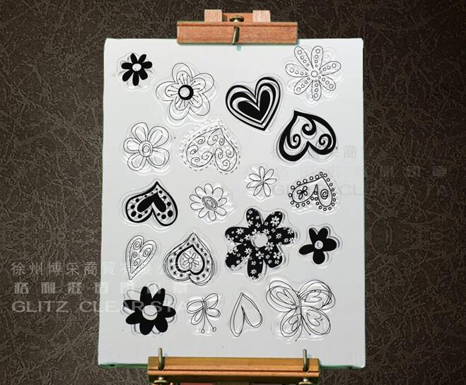 Love Flowers Transparent Clear Silicone Stamp/Seal for DIY scrapbook/photo album Decorative clear stamp sheets A350 letter phrase design scrapbook diy photo album paper cards silicone clear stamp transparent stamp for christmas gift tm 006