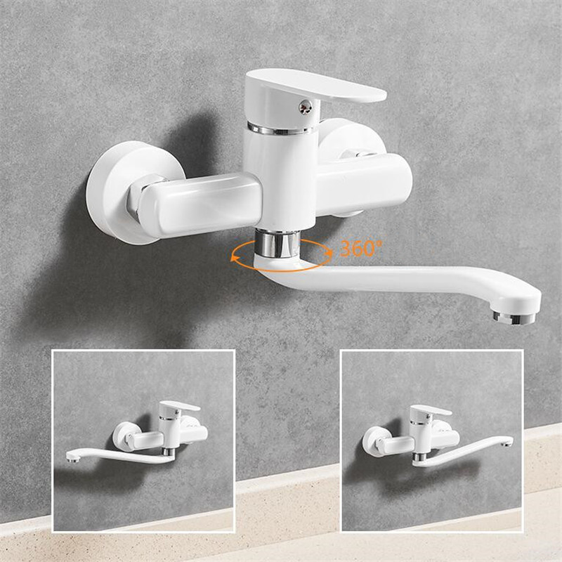 Kitchen Faucet Brass Sink Mixer Tap Hot and Cold Single Handle Faucet Wall Mounted Washing Basin Tap White Mop Pool Faucet