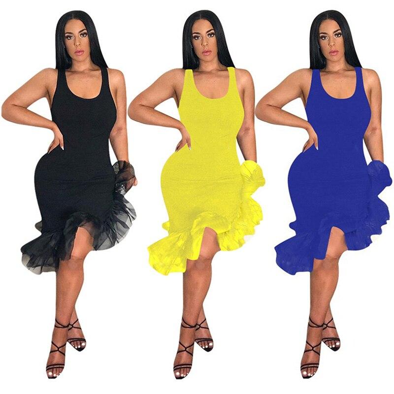 Women One-pieces Dress Sleeveless Slim Fit Irregular Hem Dress for Summer JL