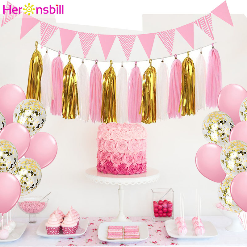 15pcs Paper Tassel Kids Birthday Party Supplies Table Decoration Unicorn Baby Boy Girl Adult Frozen Princess Parties Decorations-in Disposable Party Tableware from Home & Garden