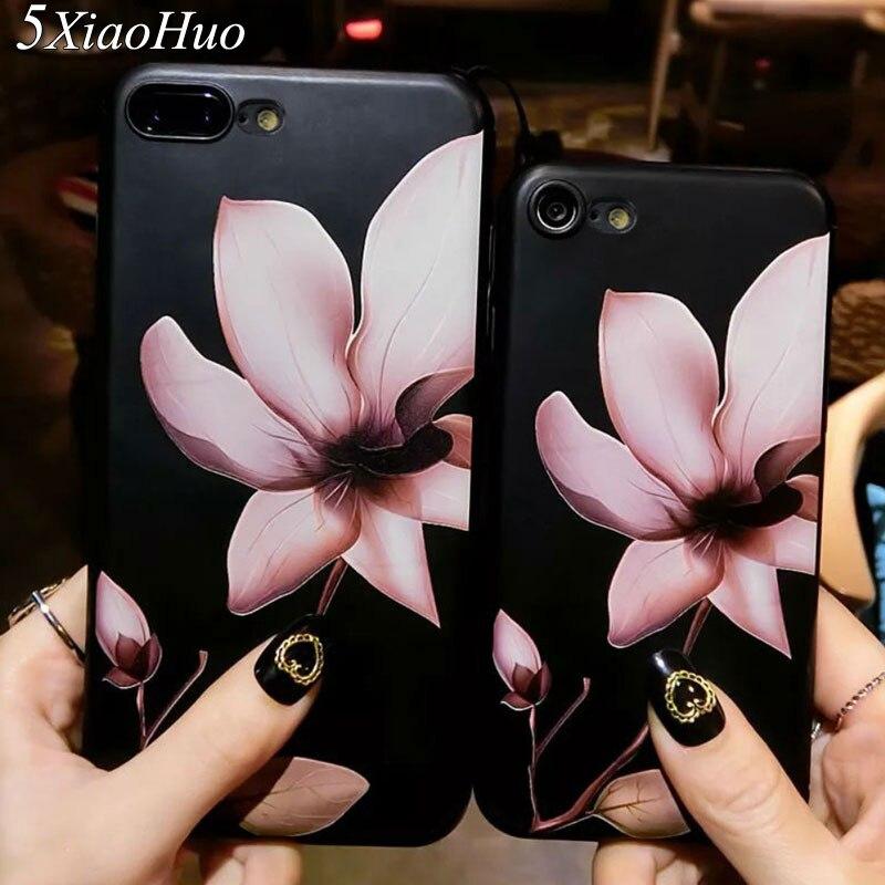 Moda 3d flor blanca pintura teléfono case para iphone 6 6s case vintage soft tpu