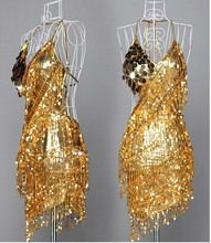 Gold Lady Cocktail Club Tragen Partei Latin Dance Handschuh Asymmetrische Sequin Fringe City Kleid