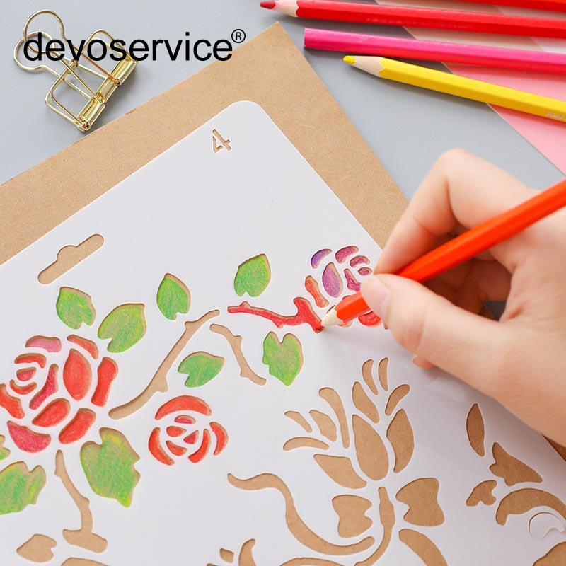 24 Style Creative Hollow Flower Ruler Hand Copying Tool Korean Student Stationery Diary Template Ruler Painting Stencils Supplie