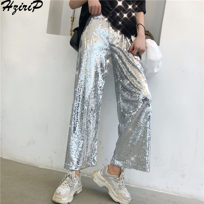 HziriP Loose Casual Fresh New Female 2019 Spring Fashion All-Match Ladies Solid Hot Simple   Wide     Leg     Pants   Free Full Length   Pants