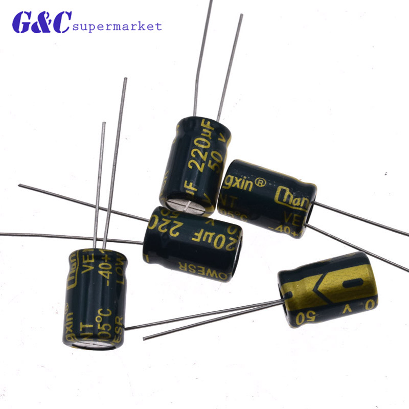50Pcs 50V 2200uF Radial Electrolytic Capacitor Set Electronic Component Kit Hot