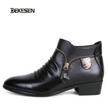 DEKESEN Marca Moda Hombres Zapatos de Punto Del Dedo Del Pie de Cuero Elegante De Cuero Qualit Mens Vestido Zapatos de Los Planos Zapatos Oxford Para Los Hombres de Negocios