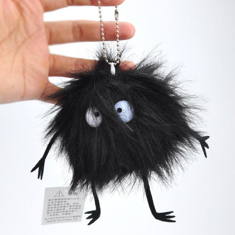 Fairydust 1Pc cool Mini Hayao Miyazaki Totoro preto Preto Carvão Macio Stuffed Plush toys keychain Spirited Away poeira Pingente