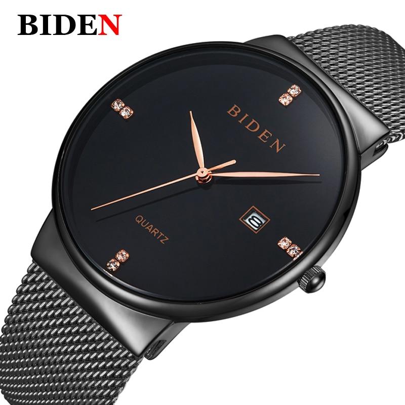 BIDEN Luxury Brand Fashion Casual Watches Men Simple Style Business Quartz Watch Man Mesh Milanese Loop strap Date Clock