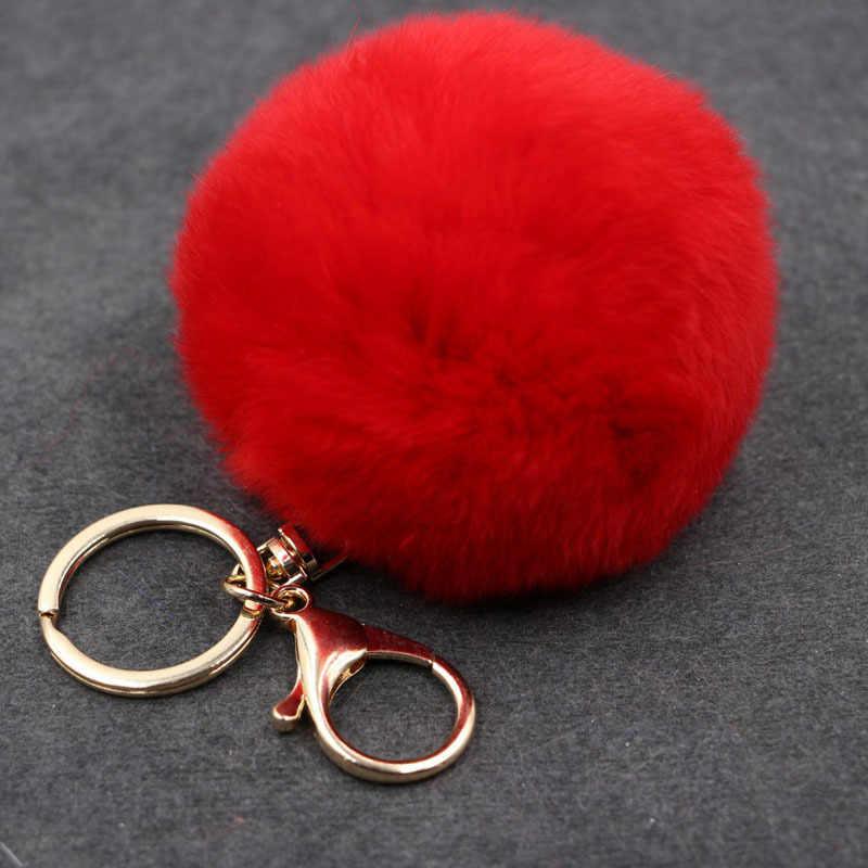 17 Cor Chaveiros Trinket Chaveiro Bola De Pêlo Pompom Pele Artificial no Saco Bonito Fofo Falso Pompom Pingente Acessórios