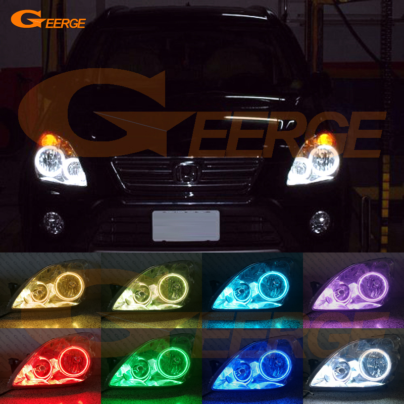For Honda CR-V CRV 2005 2006 Excellent Angel Eyes Multi-Color Ultra bright RGB LED Angel Eyes kit Halo Rings super bright led angel eyes for bmw x5 2000 to 2006 color shift headlight halo angel demon eyes rings kit