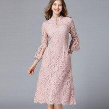 Plus Size Lace Cheongsam Flare Sleeve Tunic Midi Dress Women Elegant Vintage Sweet Office Party Beach Dress Lady Clothing Pink