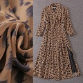 Top Quality New Fashion Sexy Dress 2016 Autumn Women V-Neck Wild Animal Print 3/4 Sleeve Mid-Calf Length Silk Chiffon Dress