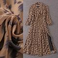 Top Quality New Fashion Sexy Dress 2016 Autumn Women V-Neck Wild Animal Print 3/4 Sleeve Mid-Calf Length Silk Chiffon Dress