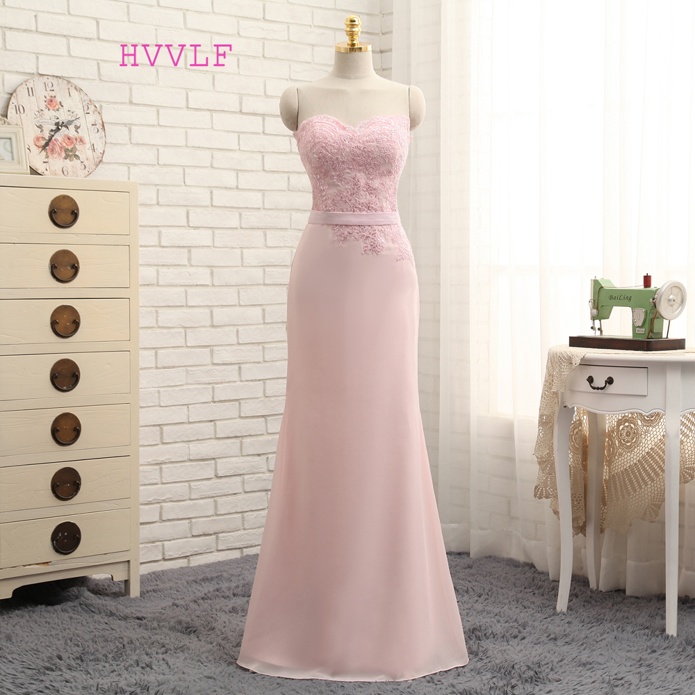 Us 53 1 10 Off Hvvlf 2019 Cheap Bridesmaid Dresses Under 50 Mermaid Sweetheart Floor Length Pink Chiffon Lace Wedding Party Dresses In Bridesmaid